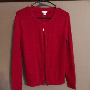 Red button front cardigan
